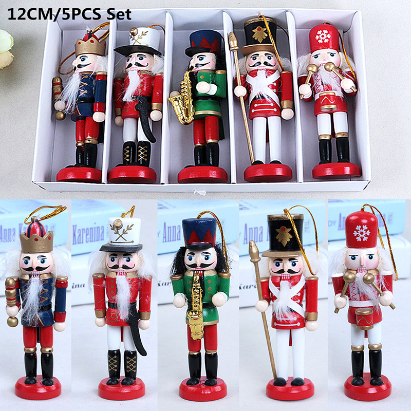 5pcs/set Wooden Nutcracker Doll Soldier Puppet 12cm Vintage Handcraft Decoration Christmas Gifts Tree Pendant Figurine Miniature