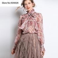 2019 летняя Модная шелковая блузка с цветочным принтом, стоячим воротником, длинным рукавом, Bod, повязки, женская блузка, Повседневная Уличная