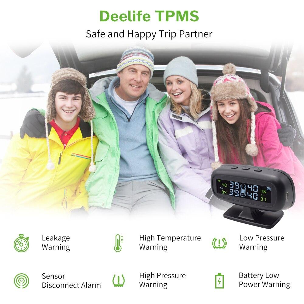Deelife TPMS coche de control de presión de sistema de alarma parabrisas neumático Solar Sensor de Monitor interno externo de los sistemas de seguridad - 6