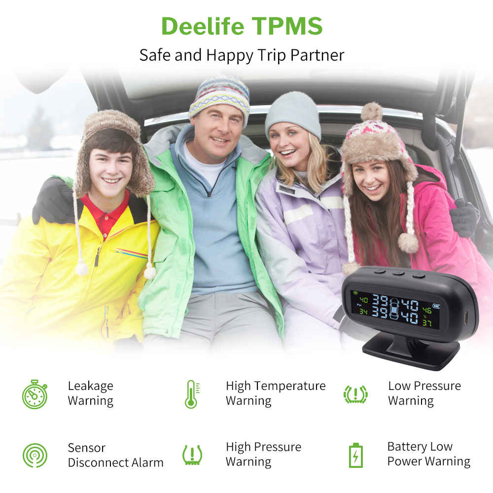 Deelife TPMS système de surveillance de Pression des Pneus De Voiture Alarme Pare-Brise Pneu Capteur Solaire Moniteur Interne Externe systèmes de sécurité - 6