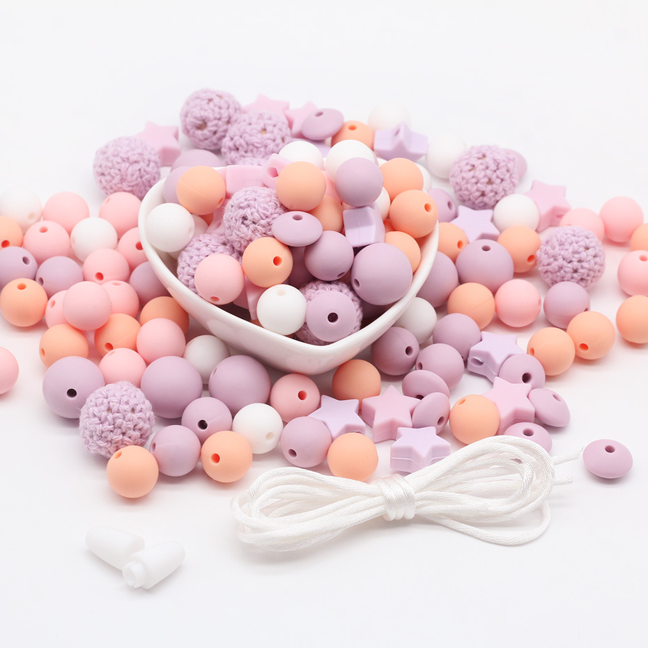 Silicone Beads 100pc Crochet Ball Shaped Silicone Teether Beads Mini Star DIY Jewelry Nursing Jewelry Gift Accessories Beads Set