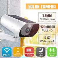 1080P Full HD Video Surveillance Camera Solar Battery WiFi IP Camera Outdoor Security Cameras with PIR IR Night Vision