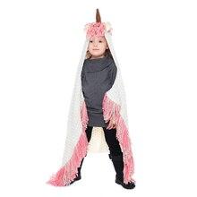 IANLAN 2019 New Cute Girls Hats Wraps Set Unicorn Style Knit Shawls Blanket with Tassels Winter Warm One Size IL00287