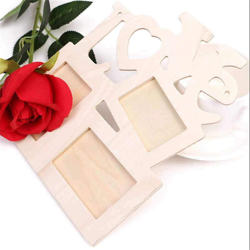 2019 New DIY Hollow Love Wooden Photo Picture Frame Rahmen Home Decoration 3 Boxes Love Photo Frame Home Decor