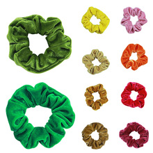 New Fashion Luxury Soft Feel Velvet Hair Scrunchie Ponytail Donut Grip Loop Holder Stretchy band for women