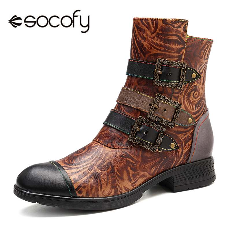 Socofy Vintage Bohemian Motorcycle Boots Women Three Buckle Decor Winter Ankle Boots Women Shoes Woman Genuine Leather Shoes New