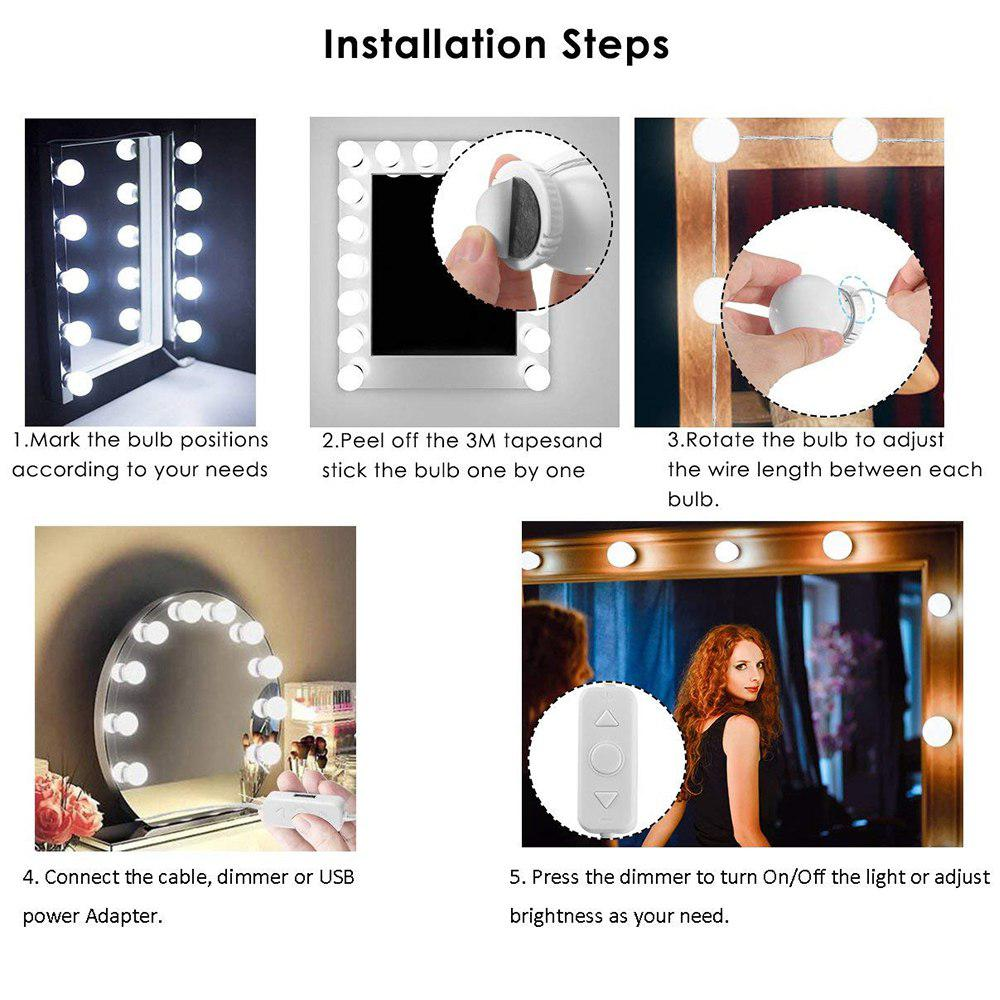 Hollywood Style Led Vanity Mirror Fill Lights Kit With Dimmable Wiring A 3 Bulb Light Fixture Bulbs Lighting Strip For Makeup Table Set In Indoor Wall Lamps From