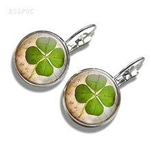 Fashion Shamrock Four Leaf Clover Hook Earrings Women Girls Accessories Pendant Jewelry Christmas Gift Earrings