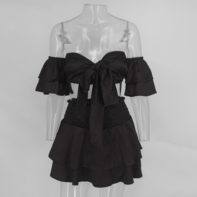 Sexy black two piece short dress