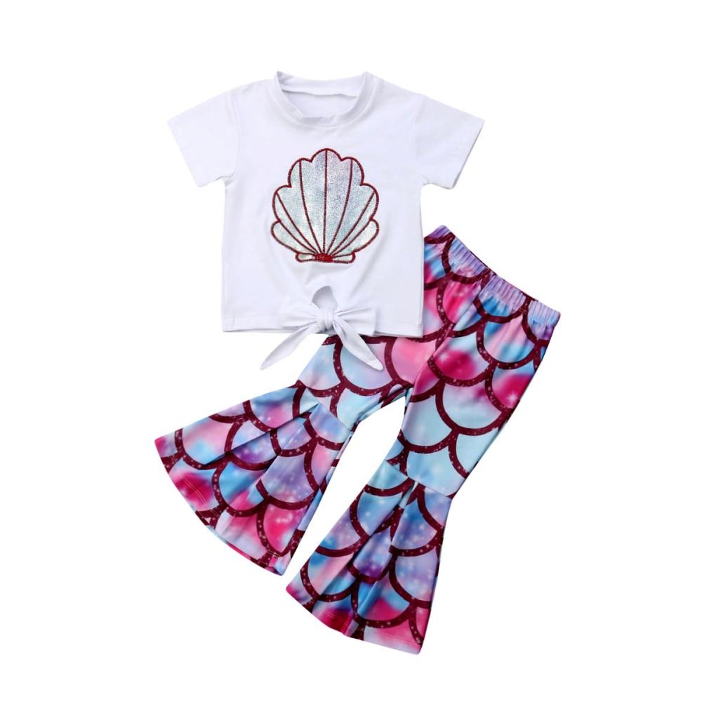 Sweatshirt Pants 2pcs Set Outfits Clothes Kid Baby Girl Flared T-shirt Tops
