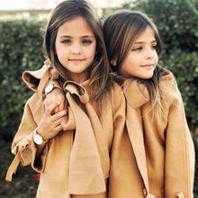 Детское зимнее теплое шерстяное пальто с бантом для маленьких девочек, верхняя одежда, куртка, одежда