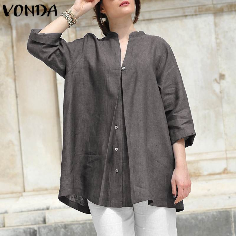 VONDA Women   Blouses     Shirts   2019 Autumn Sexy V Neck 3/4 Sleeve Solid Tops Casual Loose Plus Size Buttons Vintage Blusas Pullovers