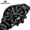 MEGALITH модные повседневные мужские часы классические часы с ремешком из нержавеющей стали для мужчин водонепроницаемые военные кварцевые на...