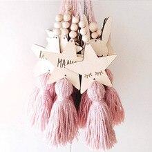 Скандинавский стиль в форме симпатичной звезды, деревянные бусины, подвеска с кисточками, украшение для детской комнаты, Настенное подвесное украшение для фотосъемки в скандинавском стиле