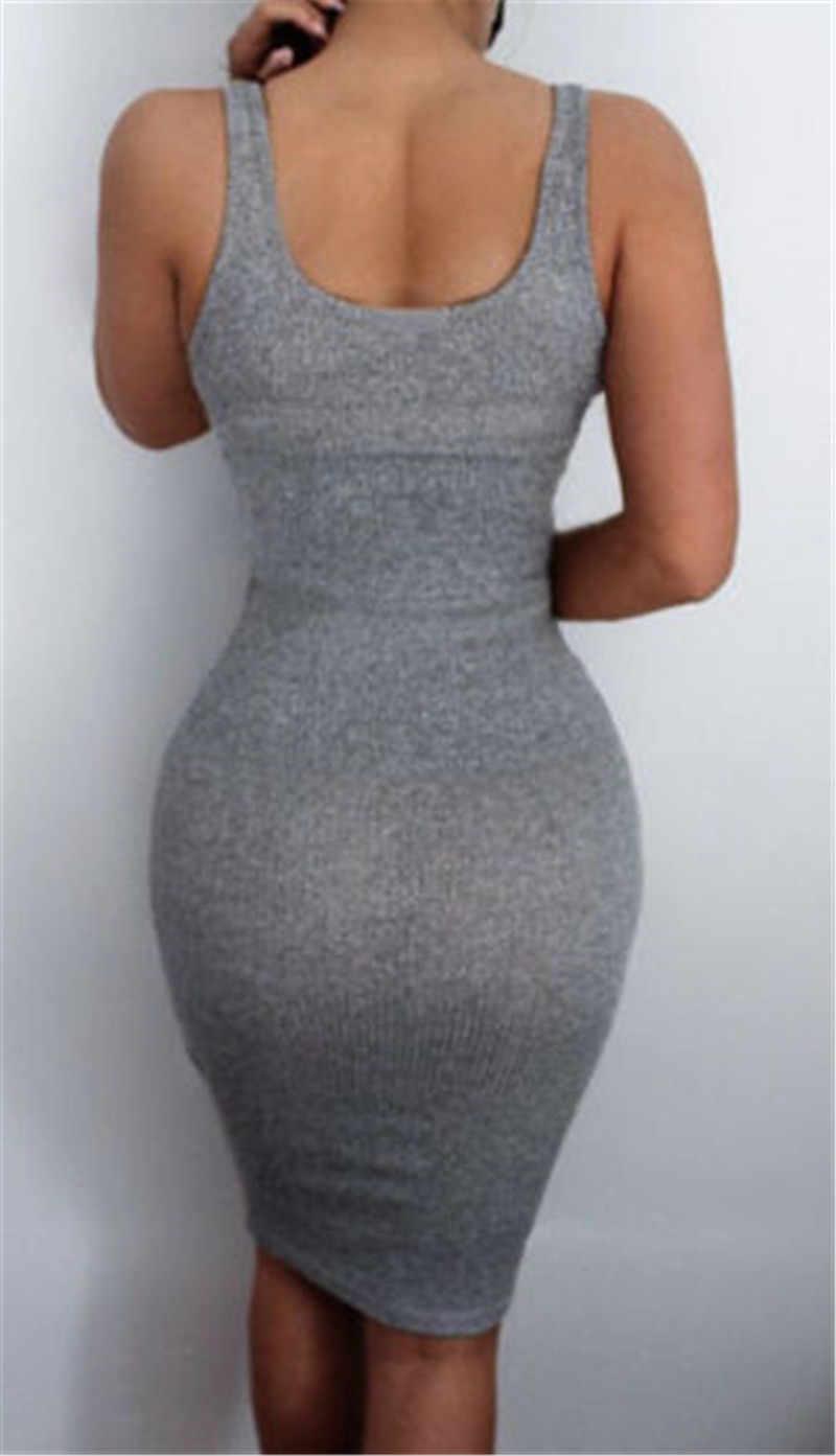 2019 I Più Nuovi donne Calde Cornici e articoli da esposizione Hip Vestito Dalla Fasciatura Vestito Aderente A Vita Alta Solido Sottile Grigio Casual Vestito