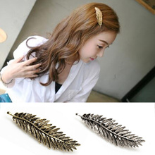 Women Fashion Hairpins Vintage Metal Leaf Hair Clip Hairgrip Barrette Feather Ornament Silver  Ladies Headwear Hairgrips