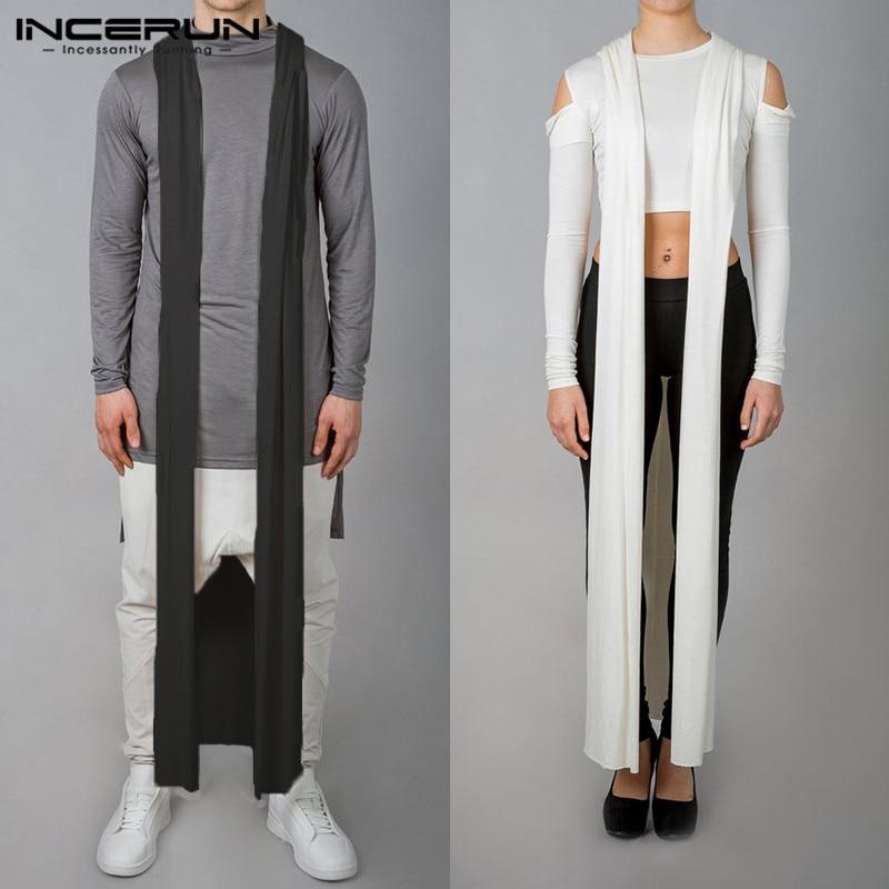 INCERUN Fashion Men Outerwear Cape Cloak Sleeveless Hooded Men   Trench   Coat Women Solid Plus Size Streetwear Men Ladies Long Coat