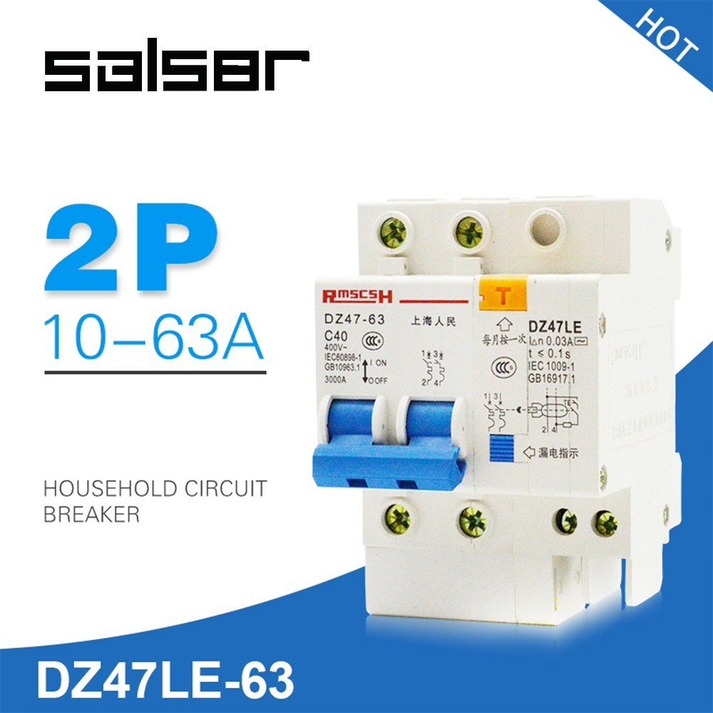 DZ47LE-63 2P Electric Leakage Mini Circuit Breaker Power Air Switch Household Protect C45N safety MCBDZ47LE-63 2P Electric Leakage Mini Circuit Breaker Power Air Switch Household Protect C45N safety MCB