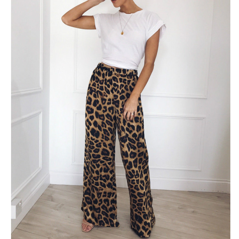 Women Snake Skin Print   Wide     Leg     Pants   Autumn Party Club Flare   Pants   Casual Elastic Waist Trousers