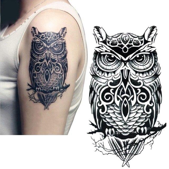 ca58ccc48329d Tattoo Sticker On Arm Shoulder Big Size Black Ink Owl Water Transfer Fake  Tattoos Flash For Men Women