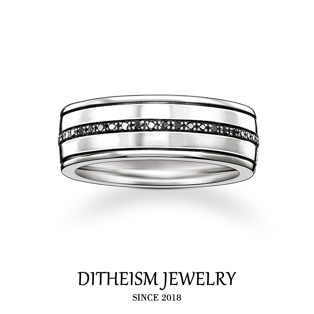 Black Line Wedding Bands Rings, 2018 New 925 Sterling Silver Zircon Pave Fashion Jewelry Vintage Gift For Women and Men