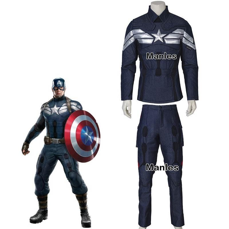 The Winter Soldier Steve Rogers Costume Cosplay Captain America 2 Superhero Adult Halloween Carnival Only Top Pants Accessories