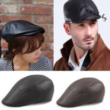492683d0ca2 Vintage Leather Visors Men Solid Gatsby Cap Mens Ivy Hat Golf Driving Flat  Cabbie Newsboy(