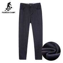 Pantalones de invierno para hombre de lana gruesa Pioneer Camp, ropa de marca, pantalones casuales inteligentes para hombre