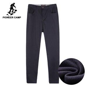 Image 1 - Мужские уличные повседневные штаны Pioneer Camp, зимние штаны из толстого флиса, брендовая одежда