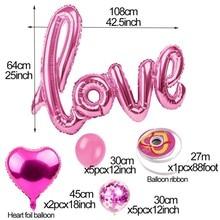 14pcs Events Party Wedding Decoration Set Valentines Day Decor With Confetti Balloon Latex Baloon Heart Shape Love Foil Ballon
