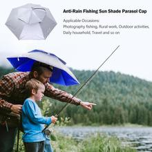 fa0c50437e169 Portable Foldable Head Umbrella Hat Anti-Rain Outdoor Camping Hiking Fishing  Sun Shade Parasol Brolly
