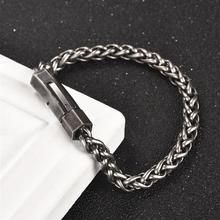 Vintage Wheat Stainless Steel Bracelet for Men Retro Silver Chain Wristband Male Bangles Fashion Jewelry Accessories Wholesale