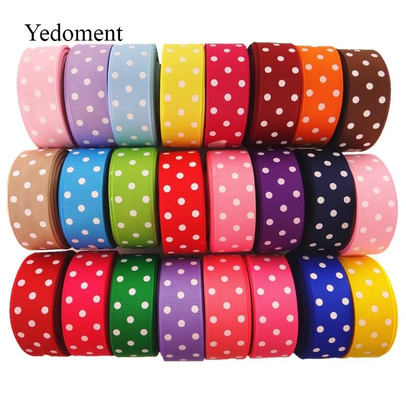 10 Yards 7/8'' (22mm) Polka Dots Printed Grosgrain Ribbons DIY Hairbow Ribbon YM15113021