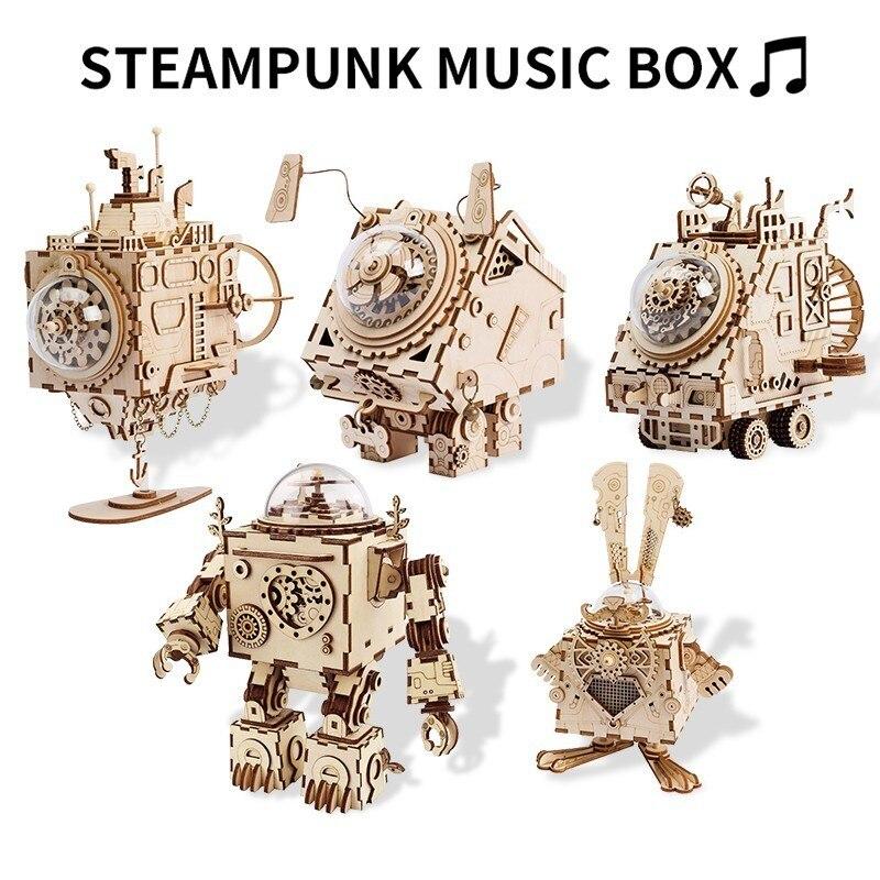 Robotime 5 Sortes 3D mules en plastique bricolage Steampunk boîte à musique Assemblé modèle en bois Jouets pour Garçons Filles Enfants Éducatifs Puzzles