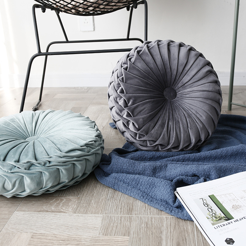 Velvet Handmade Round Satin Pleated Pillow Smocked Cushion Wheel Pumpkin Seat Cushion Decorative Throw Pillows Donut Home Decor