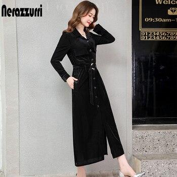 Nerazzurri long velvet dress women long sleeve with belt button striped maxi shirt dress 2019 fall warm runway plus size dress