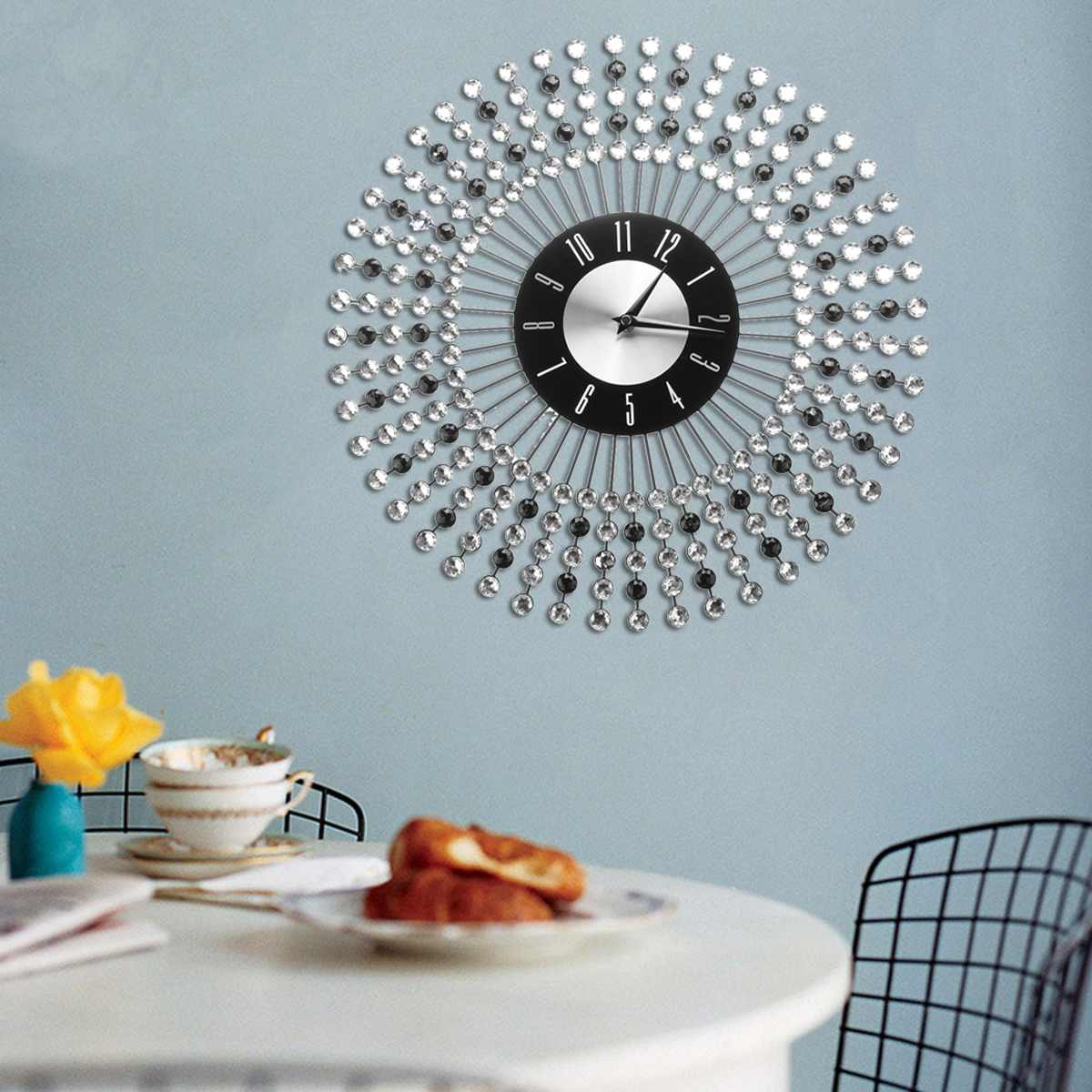 43CM Vintage Crystal Sunburst Wall Clock Luxury Diamond Large Morden Wall Clock Da Parete Clock Design Home Decor Wandklok