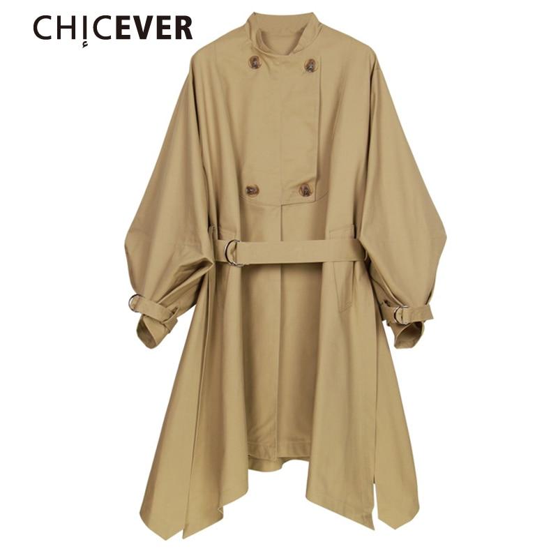 CHICEVER 2017 Asymmetric Side Split Coats Female Spring Women Tops With Belt Long Trench Coat For Women Basic Black Casual