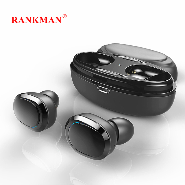 Rankman Bluetooth 4.1 Wireless Earphones Mini Stereo Earbuds HD Mic Earphones with Charging Box for Smart phones PC