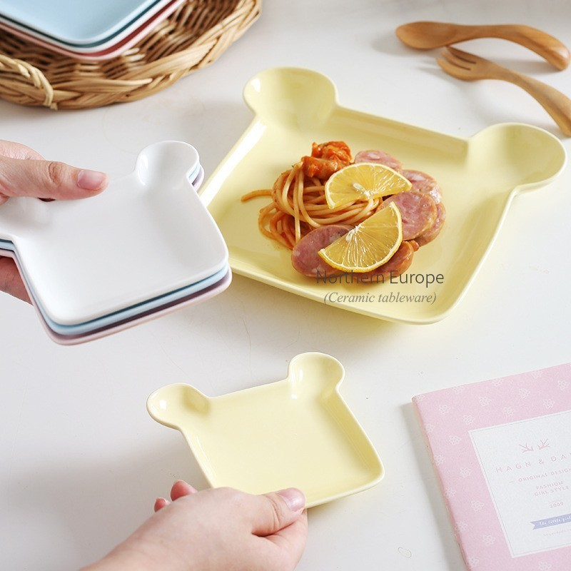 4 Color Little Cute Bear Plate Creative Design Cartoon Breakfast Plate Ceramic Plate Gift Household Dessert Plate AKUHOME in Dishes Plates from Home Garden