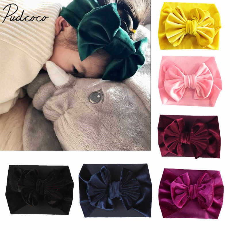 2019 Brand New Toddler Kid Baby Girl Boy Velvet Headband Solid Bowknot Hair Band Headwear Cotton Head Wrap Props Kids Gifts 1-5T