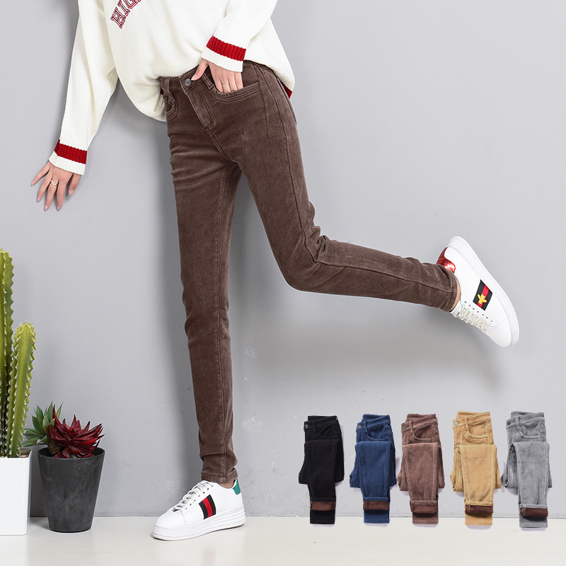 Winter Women Pants Plus Velvet Pants Thick High Waist/Corduroy Pant Elastic Warm Pencil Pants Plus Size Trousers Women Sweatpant