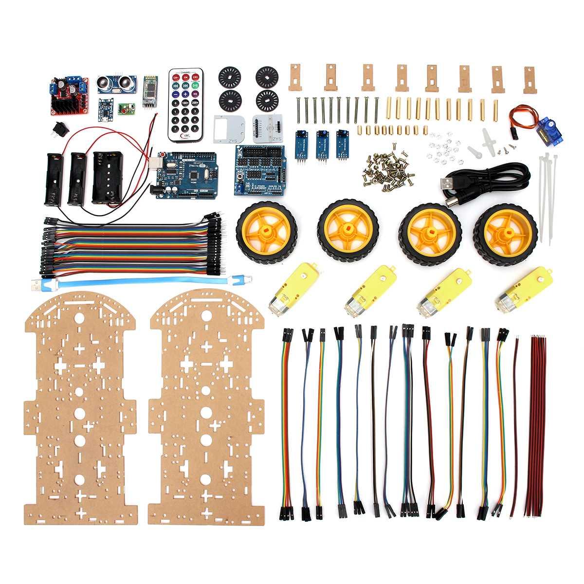 1 Set 4WD Robot intelligent voiture Kit jouets haute technologie Bluetooth IR Obstacle éviter ligne suivre L298N ForArduino Programmable jouets Kit de bricolage