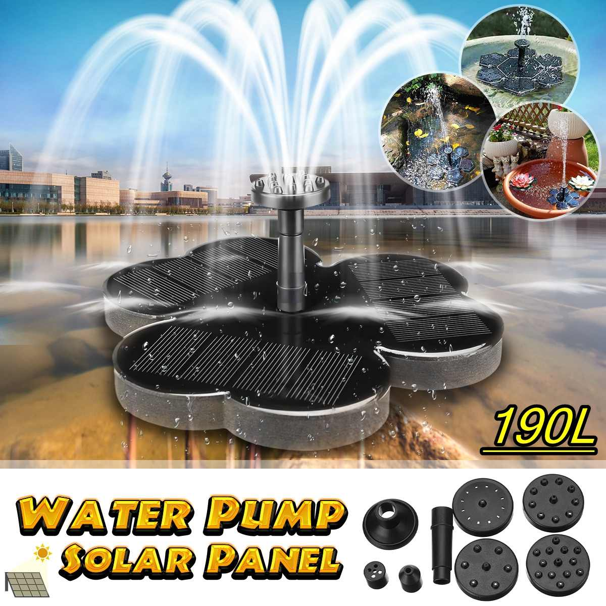 3 Style Solar Water Floating Pump Fountain 160L 190L DC 6V Garden Fountain Artificial Outdoor Decoration Solar Pump Kit  Set