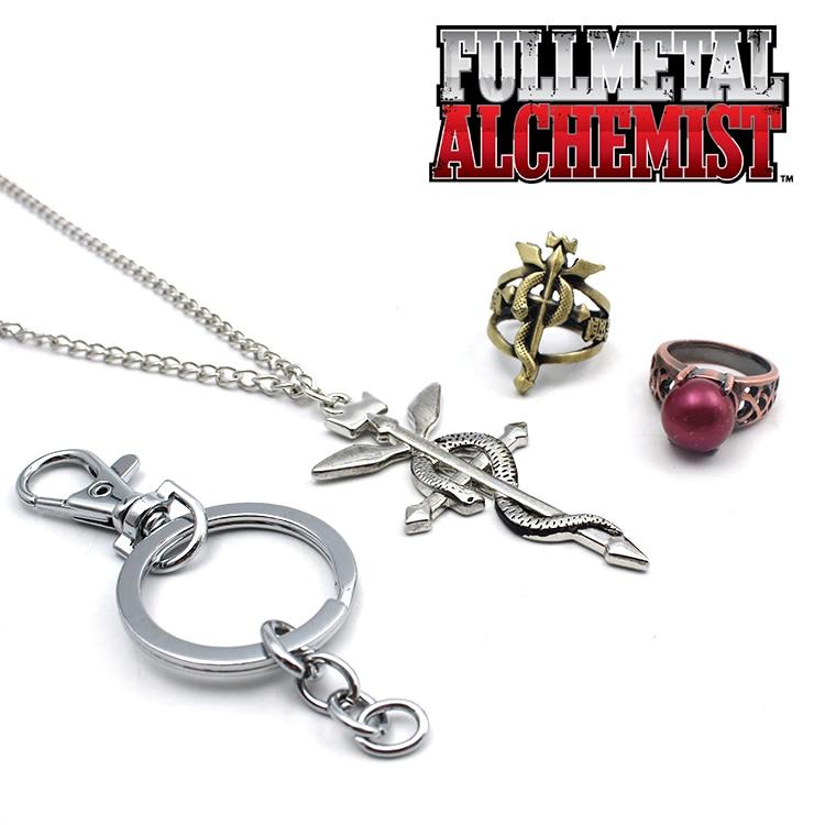 Wellcomics 3pcs/set Anime Fullmetal Alchemist Edward Alphonse Elric Symbol Metal Pendant+Rings+Necklace+Keychain Cosplay Gift