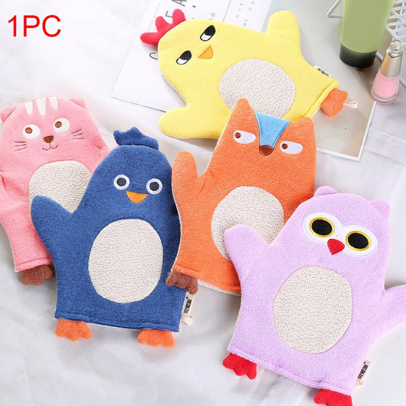 High Quality Shower Brush Cartoon Infant Cute Rubbing Cotton Bath Sponges Gloves Baby Towel