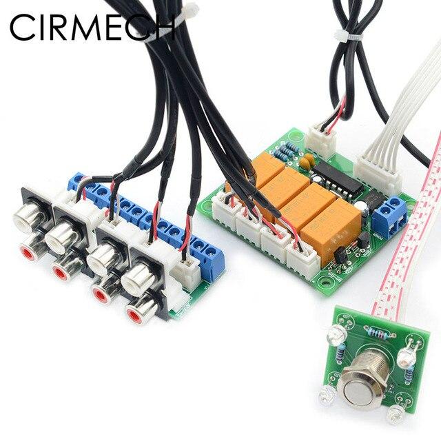 CIRMECH Relais 4 weg Audio Ingang Signaal Selector Switching RCA Audio ingang Selectie Board van Knop schakelaar voor versterkers