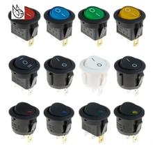 цена на Pushbutton switch ON/OFF Round Rocker Switch LED illuminated Car Dashboard Dash Boat Van 12V Waterproof cap