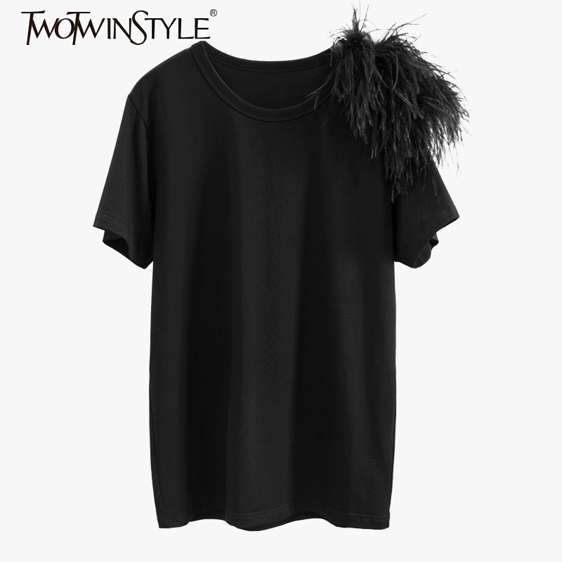 TWOTWINSTYLE 2019 Summer Casual Black Tops Female O Neck Short Sleeve Patchwork Feathers Womens T shirts Elegant Fashion New-in T-Shirts from Women's Clothing