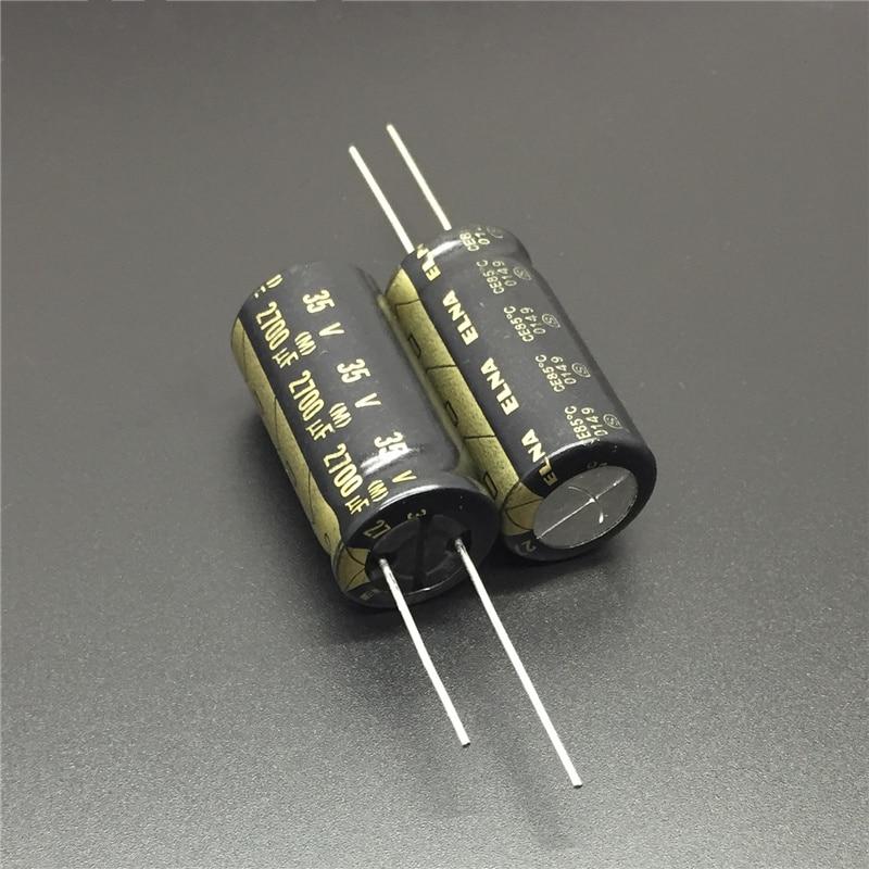 5pcs 2700uF 35V Japan ELNA 16x32mm 35V2700uF High Grade HIFI AUDIO Capacitor Black Gold